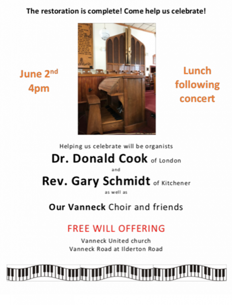 Concert at Vanneck United Church, June 2, 2019 at 4pm to celebrate completion of restoration of their pipe organ. Lunch to follow. Free will offering.
