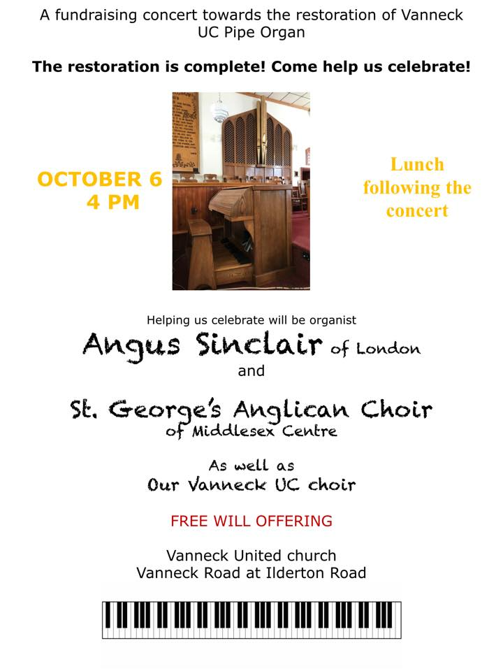 Poster for October 6, 2019 concert at Vanneck United Church